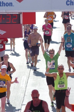 2011 goal: Run a marathon. Accomplished! (Finish line, 2011 Chicago Marathon.)