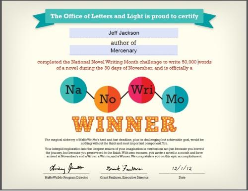 NaNoWriMo 2012 Winner Certificate