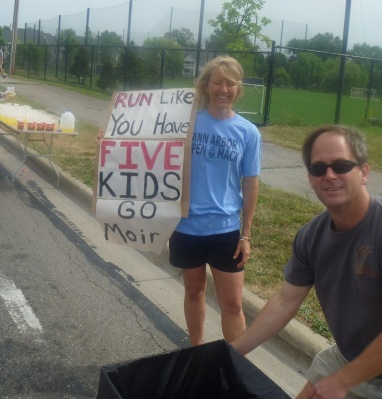 Barf bucket? Thanks, don't mind if I do. (Mile 23, A2 Marathon 2012)