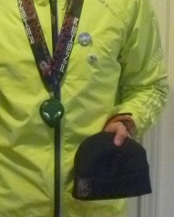 Way cool finisher's medal and the incredible disappearing / reappearing hat.