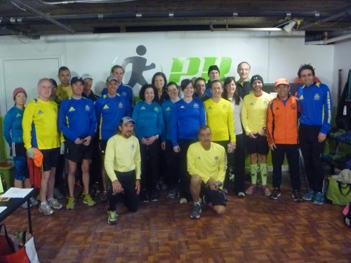 The 2013 Boston Marathon PR Fitness runners. :Like all marathoners, they got there by going out and running.
