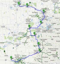 Day 1 - Ann Arbor to Fenton (click to enlarge)