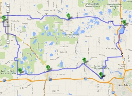 Bike route map - David Relson Memorial Ride