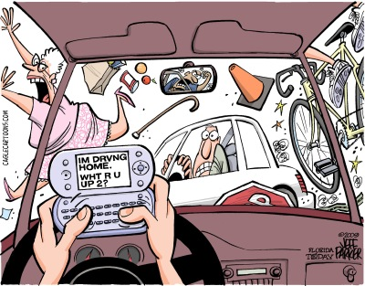 091002c-Distracted Driver-CagleCartoons