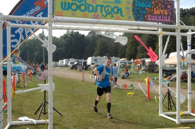 Crossing the finish line at Run Woodstock.