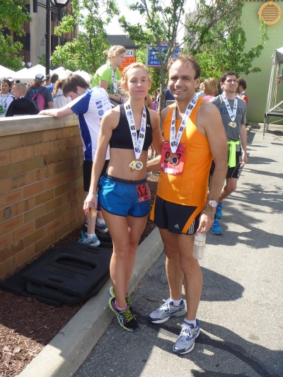 Two fellow PR Fitness runners after the Dexter-Ann Arbor half marathon.