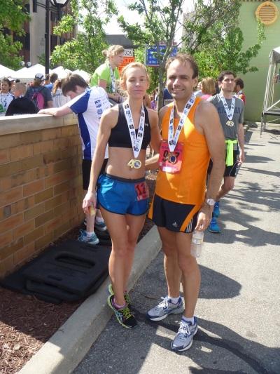 Two fellow PR Fitness runners after the Dexter-Ann Arbor half marathon.