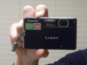 "My Panasonic Lumix DMC-FP1. I'm using its ""Self-Portrait"" setting. Just push the button and it takes a picture of itself."