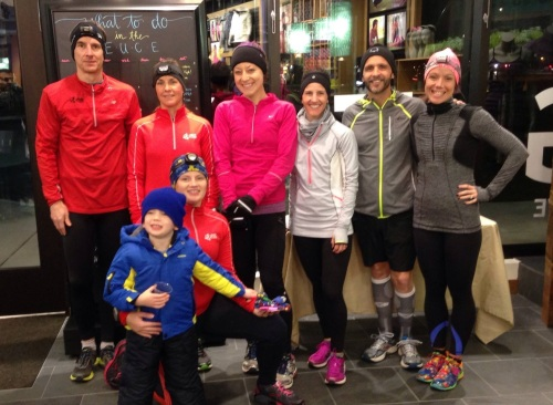 Wednesday night's group at Lululemon. Zip up the warm tech shirts, put on the headlamps and hit the road!