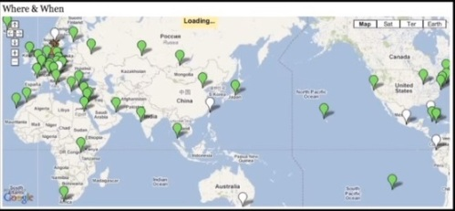 Map of Tristan's 2010 marathons. From his TEDx presentation.