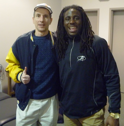 "Me with another famous ""Shoelace"", Denard Robinson. Except that he's bigger, probably better looking, has lots more hair and runs about seven times faster than I do, the resemblance is remarkable, don't you think?."