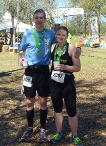Me with fellow PR Fitness ultrarunner Tracy, enjoying a post-race adult libation.