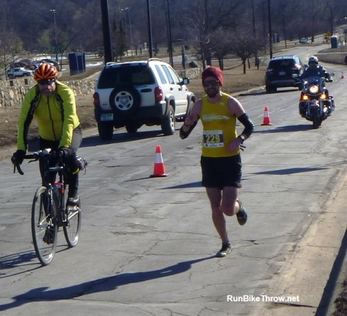 The lead marathoner (and eventual winner) as he approaches the monster hill for the second time.