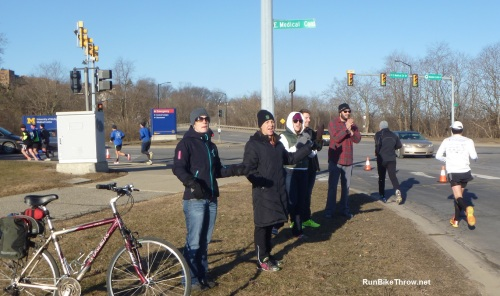 Cheering them on at mile 10, just before the monster hill.