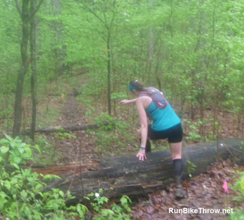 Rain and mud? Sure, let's jump over a few logs, too.