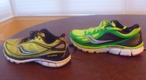 Left, the original Kinvara. Right, the new Kinvara 5. Slightly taller, slightly thicker, but lighter.