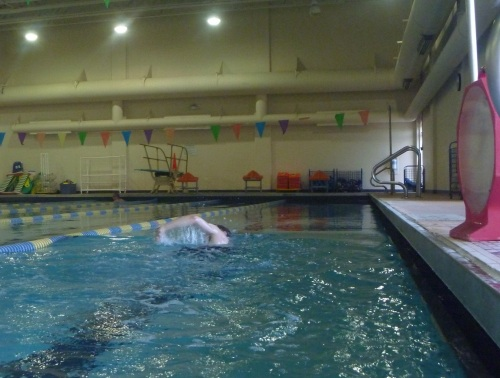 I'm not sure which seems longer - 800 meters, or 32 times back and forth across the pool.