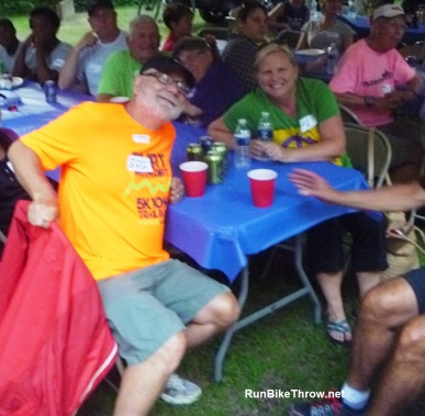 It was this couple's 20th wedding anniversary. Naturally, they celebrated at a mosquito-filled campground with lasagna and beer.