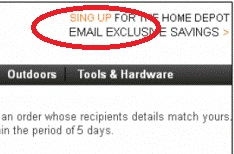 Home Depot scam email - Sing Up