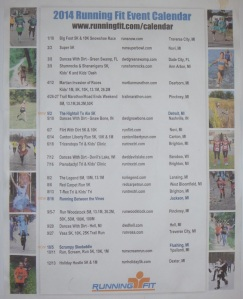 Running Fit Calendar of Events 2014