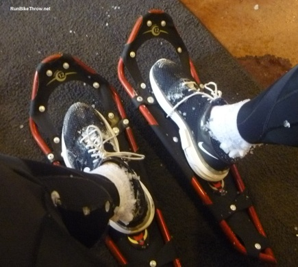 The super snowshoes I wore for the race. See below for how I got them.  Also notice the ice balls on the socks!