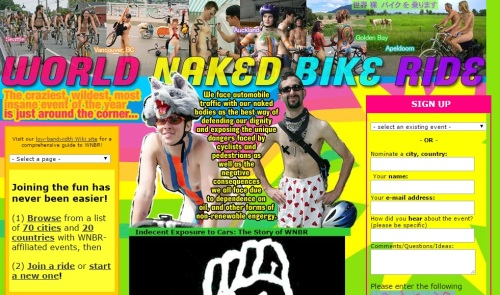 World Naked Bike Ride website