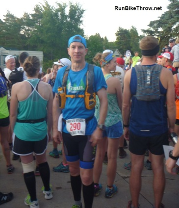 Me at the start, all geared up. The field was about 250 - their largest ever. 211 finished.