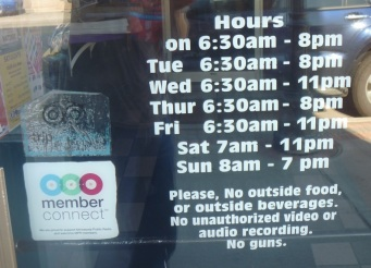 Honestly? Up here you have to tell people not to bring guns into a coffee shop? (This is actually in Duluth, but it's close enough.)