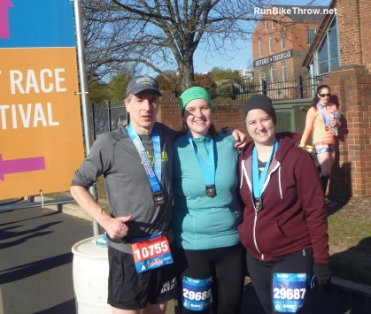 Also taking part - daughter Tori (center) and Jess, her SO, finishing the 8K..