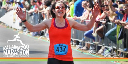 Gwen here won the Kalamazoo Marathon last year. I'll let her chick me. Mainly because I have no choice in the matter.