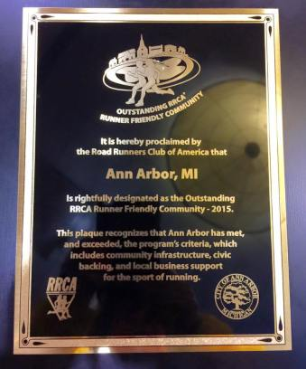 Ann Arbor Outstanding Running Community Plaque